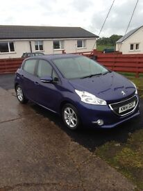 Great Condition Peugeot 208 for sale. Car is blue and has just 25750 miles on the clock.