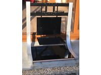 TV stand with floating shelf for sale silver and black glass