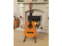 Acoustic guitar with stand and tuner