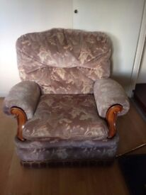 FOR SALE : 2 seater tan sofa with 2 matching comfy armchairs -Bargain Price