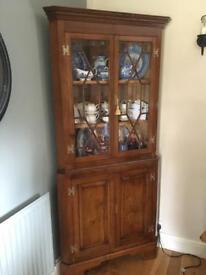 Solid oak corner cupboard