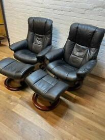 Ekornes Stressless Black Leather Recliners . Delivery Available