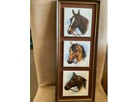 3 horse tile picture framed