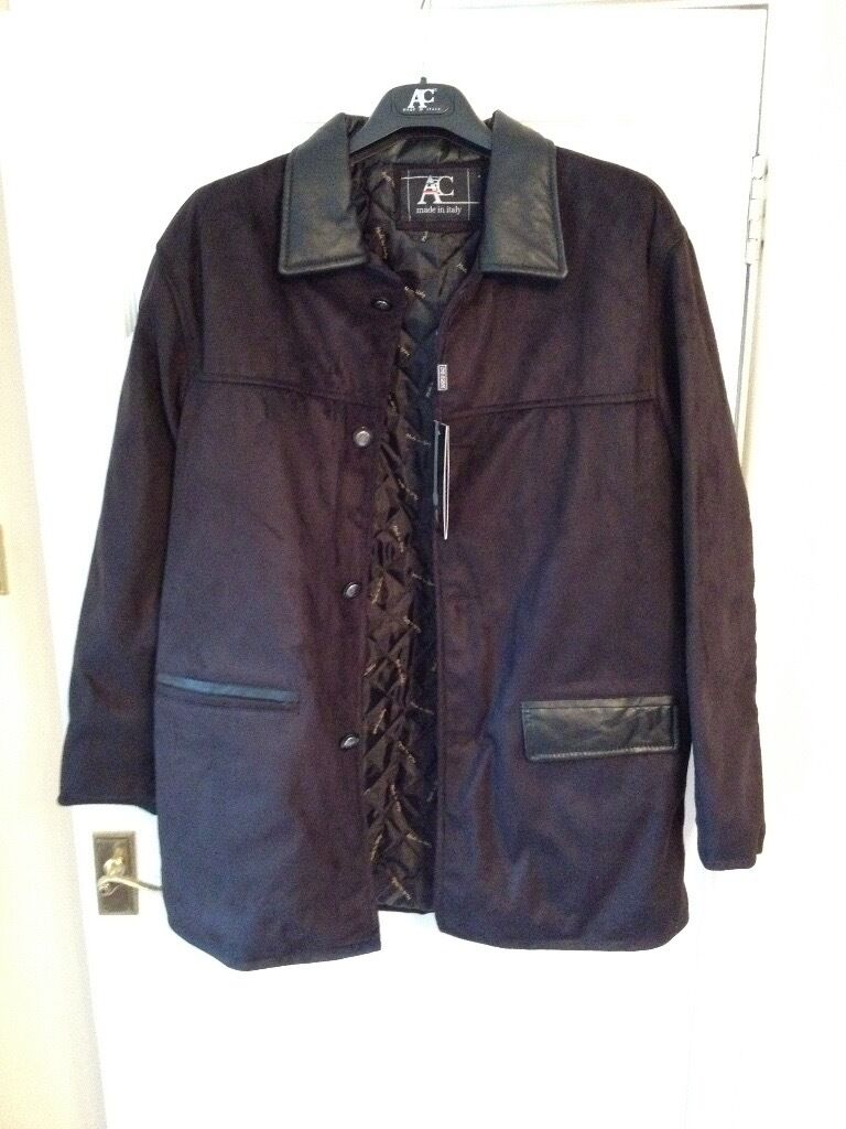 Leather jacket italy - Men S Large Ac Made In Italy Imitation Swade Jacket With Tag