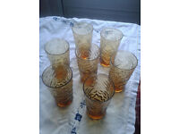 7 Amber glasses. Crinkle design