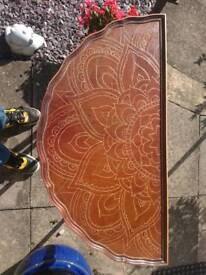 Upcycled table. Hand carved mandalas. Varnished