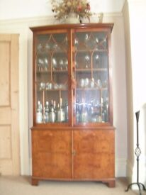 Yew cocktail/display cabinet/bookcase.