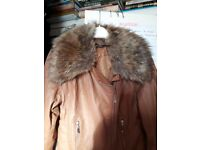 Faux leather/fur quality jacket, light browny/beige colour (size 12). ONLY £10