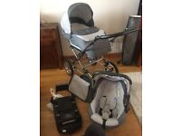 Silver cross pram, car seat and isofix