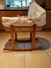 Baby bassinet/moses basket and stand - perfect condition
