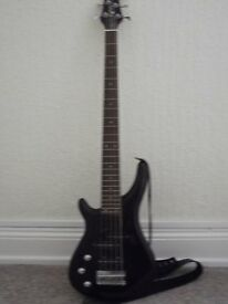BASS GIUTAR FIVE STRINGED LEFTHANDED, IN GOOD CONDITION WITH STRAP AND LEAD, NOT USED VERY MUCH.