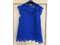 Oasis Royal blue lace effect top