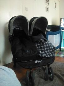 Dubble buggy with car seat rain cover bag cosey toes