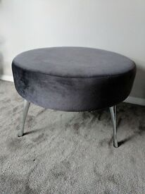 Excellent condition grey footstool said in velvet