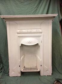 Cast iron fireplace.