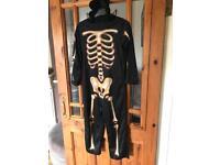 All in one skeleton halloween suit