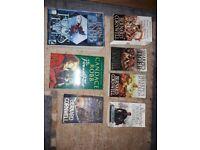 Fire in the Flint (Candace Robb), Fool's Fate (Robin Hobb) and Sharpe (Bernard Cornwall) books