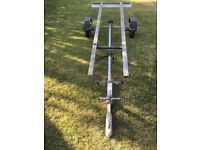 Boat trailer suitable for dingy/ speedboat/ dory up to 14ft inc lighting board - cheap but scruffy