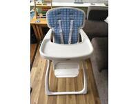 Fold-flat travel high chair