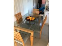Glass/beech/chrome dining table & 4 chairs - cheap
