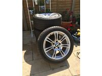 Original BMW 18 inch 350M style alloys (x4) with run flat continental tyres for 5 series F10 F11