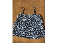 Jack wills blue flowery cami top