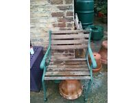 Wrought iron garden furniture ends (table, 2 chairs, umbrella stand)