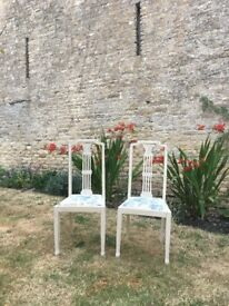 Pair of upcycled pretty solid wooden chairs with Laura Ashley fabric seats