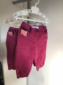 Twin Girls Trousers; 6-12 months, 2x; by Designer Brand Bonnie Mob