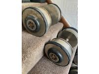 35kg x 2 dumbbells. Gym weights equipment