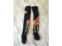 Topshop navy giraffe print knee socks, one size, womens'