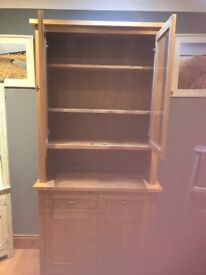 Solid Oak Display Cabinet, in 2 pieces. Excellent condition.