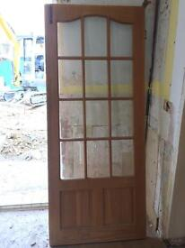 2 solid wood internal doors with bevelled glass edge panels