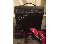 Guitar Amp, Boss Pedal, Fender strap plus many leads