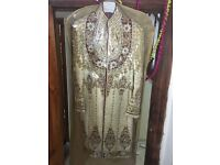 Mens Designer Embroidery Wedding Indian Sherwani Affluent Gold (Worn Once) - Small 36