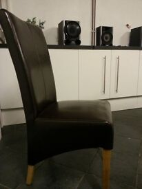 4brown real leather chairs with solid oak legs