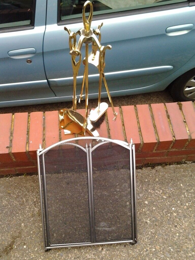 fireplace tool set and screen for sale