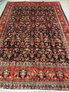 Mahal Semi-Antique Persian Rug, Handmade Carpet, Wool Size: 10.3 X 7.2 ft (312 X 218 cm) Orange, Red, Blue and Yellow