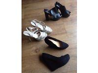 Heels - 3 pairs: 2 black pairs and 1 gold pair