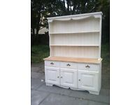 Farmhouse cottage solid pine welsh dresser shabby chic-side table cupboard