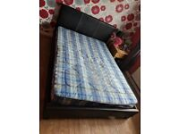 Dark Brown Faux Leather Double Bed & Mattress Bed needs attention