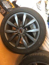 17 inch alloys 5x112 good tread on all 4 alloys. Gun metal grey