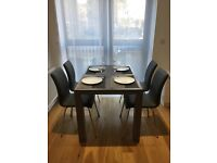 Grey Wooden Dining Table with Four Chairs