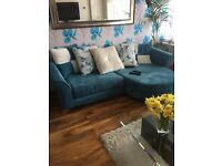 DFS sofa L Shape and Snuggle plus matching Puff and coffe table and side table