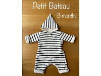 Petit Bateau striped unisex Spring-Summer snowsuit 100% cotton(3 months)
