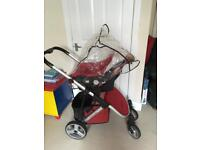 Red 3 in 1 travel system