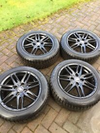 4 MSW alloys (black) 16inch with hankook 195/55 r16 winter i*cept rs tyres