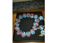 ANTIQUE FRENCH PORCELAIN BEAD BRACELET, WITH HAND PAINTED DESIGN