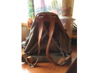 REDUCED £65 Vintage ex-army store rucksack grey canvas, tan leather straps & metal frame. £75 ONO