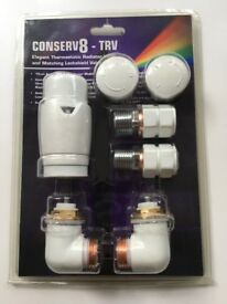 New Conserv8 White TRV Thermostatic 15mm Corner Radiator Valves
